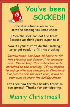 You've Been SOCKED! (filling a stocking with Christmas treats and leaving it at someone specials doorstep…hoping it continues) Great idea for some office holiday cheer =) stuff and leave on co-workers desks Primitive Christmas, Merry Christmas, Christmas Games, Christmas Activities, Christmas Projects, Christmas Treats, Christmas Traditions, Winter Christmas, Christmas Service