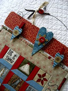 decorative hanging quilt squares    efemeraInk