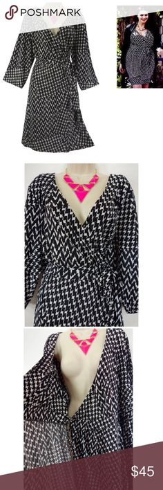 """22/24 3X HOUNDSTOOTH FAUX-WRAP DRESS Plus Size This sexy, pretty houndstooth faux-wrap dress is perfect for day or evening!   Size: 22/24 Slip on/off Black & Ivory houndstooth Stretchy, comfortable fabric Faux-Wrap style ties on the inside right & outside left of the waist Measurements: Bust (armpit to armpit): 48"""" relaxed - stretches to 60"""" Waist: 42"""" relaxed - stretches to 56"""" Hips: 59"""" relaxed Length: 39"""" (top of shoulder to bottom hem)  Condition: PRISTINE CONDITION! Fabric Content: 95%…"""