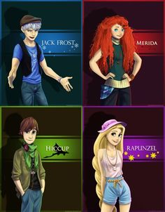 Jack Frost, Merida, Hiccup, and Rapunzel. Cute!