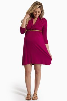 Magenta-3/4-Sleeve-Belted-Maternity/Nursing-Dress #nursingdress #beltedmaternitydress  #cutematernityclothes