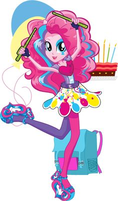 Pinkie Pie | MLP: Equestria Girls Rainbow Rocks character bio: Always ready with a joke and a laugh, Pinkie Pie's vibrant energy add lots of color to the Rainbooms (pink, of course!). As the band's drummer, she keeps the tempo lively and the mood light with her offbeat style.