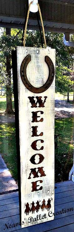 RECYCLED WOOD PALLETS: Here is our newest Door Hanger. What a GREAT way to say WELCOME to our rustic country-chic home. It is 26 x 6 and has a rusted, metal Horseshoe on the top. Is sells for $24. Message us with your order. Makes a great gift for that hard to shop for country-all-the-way … Read More →