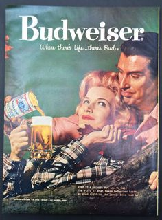 1958 Budweiser Beer Vintage Print Ad - Keep it a Secret? - Where there's life there's Bud!