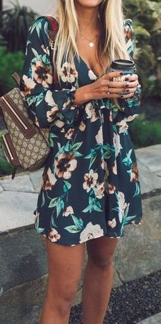 #summer #outfits / Green Flower Print Romper Too short, but cute