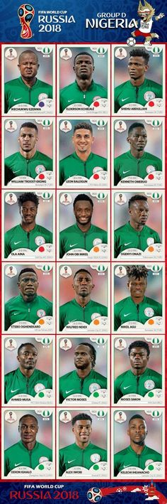 World Cup 2018 Nigeria national team Panini stickers Football 2018, Best Football Team, National Football Teams, Football Memes, Football Stickers, Football Icon, World Cup 2018 Teams, Fifa World Cup 2018, World Cup 2014