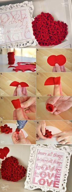 Felt Roses Heart– DIY Idea for Valentines' Day.Craft ideas 8378 - LC.Pandahall.com