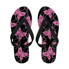 Pink Ribbon Butterfly Flip Flops