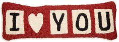 """I Heart You 8""""X24"""" Hooked Wool Lumbar Pillow - Chandler 4 Corners"""