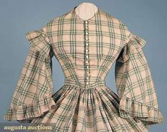 Madras plaid day dress, unstated material; American, late 1850's. Augusta Auctions, April 2009, LOT 76
