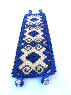 Deep Blue Mexican Huichol Bracelet by MexicoHechoAmano on Etsy