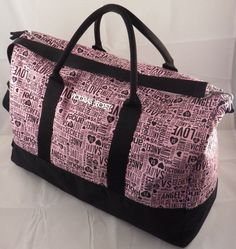 Victoria S Secret Angel Vs Love Pink Black Gym Duffel Bag Weekend Getaway Tote Victoriassecret