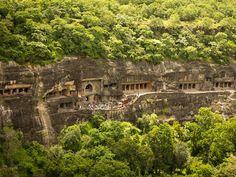 Ajanta Caves [in Aurangabad District, Maharashtra, India] are about 29 rock-cut… Ajanta Ellora, Ajanta Caves, Archaeological Survey Of India, India Images, Bhutan, India Travel, World Heritage Sites, Aerial View, Sri Lanka