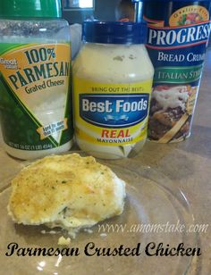 Parmesan Crusted Chicken - mix cheese and mayo, spoon atop cut pieces of chicken, top with bread crumbs, bake