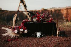 Gothic look, red roses, black pampas arcade, handmade ceramics, vintage candlesticks, black hat, dark flowers bouquet Gothic Looks, Dark Flowers, Country Weddings, Dark Red, Candlesticks, Arcade, Red Roses, Wedding Flowers, Wedding Decorations