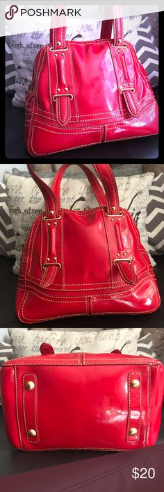Maxx New York Red Leather Handbag Maxx New York red leather handbag with Zebra lining! Lightly used. In great condition and super trendy! Lining is a bit stained in places. Pictures show some staining. Maxx New York Bags Hobos