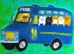 Cat bus to Taiwan Crazy Cat Lady, Crazy Cats, Chat Web, Cats Bus, All About Cats, Cat Drawing, Painting For Kids, I Love Cats, Cat Art