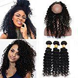 Vinsteen 8A Best Quality Deep Wave Hair Wefts 3 Bundles Same Length Natural Color Real Human Hair Extensions Thick Ends shiny Hair Weaves with 360 Lace Frontal Closure (16 16 16 & Closure 14)