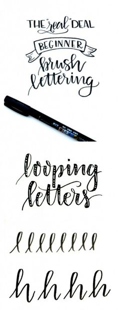 Beginner Brush Lettering: Looping Letters - One Artsy Mama. links to other tutorials about hand lettering. Lettering Brush, Hand Lettering Fonts, Doodle Lettering, Creative Lettering, Lettering Styles, Handwriting Fonts, Penmanship, Monogram Fonts, Script Fonts
