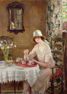 """I always have my afternoon tea. """"Afternoon Tea"""" by William Henry Margetson This is one of the most beautiful paintings ever! Why can't I paint like that? Illustration Art, Illustrations, My Tea, Vintage Tea, Beautiful Paintings, Oeuvre D'art, Afternoon Tea, Female Art, Painting & Drawing"""