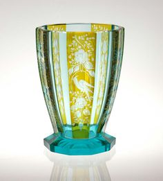 Art Deco Bohemian Czech cut engraved and flashed Glass Vase Moser style designed by ? (may not have been Moser).