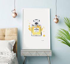 Coco Chanel, No.5, Oversized, Yellow, Bedroom Art, Decor, Wall Art, Watercolour, Girl, Gift