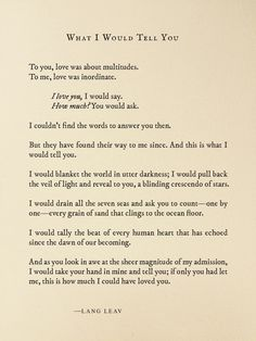 What I Would Tell You by Lang Leav