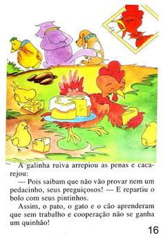 Página 16 do livro A GALINHA RUIVA Winnie The Pooh, Disney Characters, Fictional Characters, Blog, Feelings Activities, Traditional Tales, Art Classroom, Paintings, Blue Prints