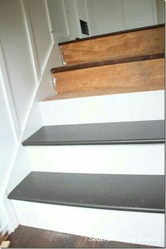 Great tutorial on how to replace carpet on staircases and then install new stair treads. at a cheap cost rather than buying them premade from some website thats waaayyy more expensive. exactly the info I was looking for! - Home Projects We Love Home Improvement Projects, Home Projects, Stairs Treads And Risers, Pine Stair Treads, Staircase Remodel, Staircase Makeover, Stair Redo, Painted Stairs, Painted Staircases
