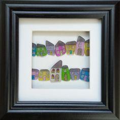 Sea glass art, pastel painted village