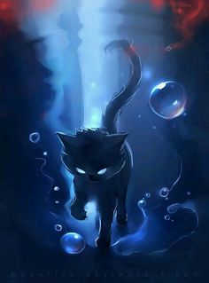 Dark halo by Rhiards Donskis aka Apofiss Cute Animal Drawings, Cute Drawings, Fantasy Creatures, Mythical Creatures, Anime Animals, Cute Animals, Devian Art, Warrior Cats, Cool Cats