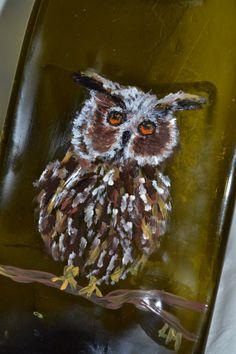 Owl Handpainted Brown Glass Wine Bottle Cheese by oldcargirl, $33.00