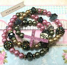 Pink and Green Glitzy Glam Beaded Bracelet Set by R  R's Wristcandy on Etsy, $12