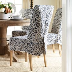 dining chair covers pool lounge cushions 118 best slip images samsara linen cover for echo low back indigo 62 x 43