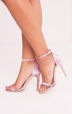 Clover Black Velvet Strap Heeled Sandals