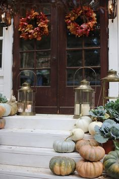 Natural decorating- pumpkins, leaves & lanterns porch - FRENCH COUNTRY COTTAGE