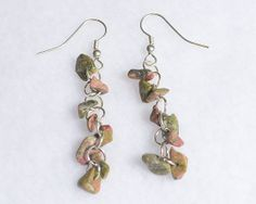 Jasper Stone Dangle Earrings Long Dangling by JewelryandNeatThings, $8.00