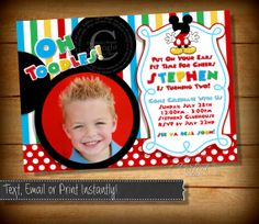 Items similar to ANY AGE Mickey Mouse Birthday Invitation, Clubhouse Mickey, Birthday Invitation, Printable Mickey Mouse Invitation, Mickey Photo Invitation on Etsy Mickey Mouse Birthday Invitations, Mickey Mouse Bday, Mickey Mouse Clubhouse Party, Mickey Birthday, 1st Birthday Themes, 2nd Birthday Parties, Birthday Fun, Birthday Ideas, Party Ideas