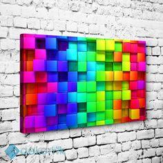 Renkli 3d Kareler Tablo #geometrik_tablolar #geometrik_kanvas_tablolar