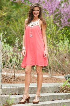 In Your Space Dress, Coral - The Mint Julep Boutique