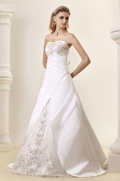 Gorgeous Empire Strapless Satin Chapel Train Wedding Dress WEM05081-TB