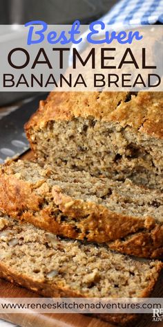 Best Ever Easy Oatmeal Banana Bread by Renee's Kitchen Adventures. Easy Oatmeal Banana Bread is enhanced with the goodness of oats for a healthy banana bread (no butter) full of banana flavor and a… Oatmeal Banana Bread, Moist Banana Bread, Chocolate Chip Banana Bread, Easy Healthy Banana Bread, Oatmeal Bars, Baked Banana, Baked Oatmeal, Health Banana Bread, Easy Banana Desserts