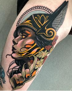 Valkyrie done by Daniels bauti. Neo Traditional Art, Traditional Tattoo Flash, Traditional Viking Tattoos, American Traditional, Time Tattoos, Body Art Tattoos, Sleeve Tattoos, Flash Tattoos, Leg Tattoos
