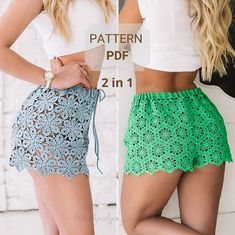 2 in 1 woman crochet shorts pattern / Summer beach shorts Crochet Summer Dresses, Summer Dress Patterns, Beach Crochet, Crochet Bikini, Como Fazer Short, Lace Dress Pattern, Crochet Shorts Pattern, Crochet Woman, Crochet Fashion
