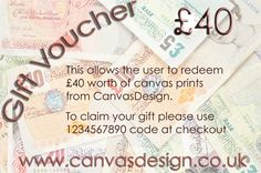 Do you need a gift and are struggling for ideas? Try one of our Canvas Gift Vouchers for that special person that has everything. Gift Cards start at £10