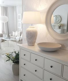 Have a lovely sunday evening! These beautiful lamp, mirror and bowl are from 😙 Tämä uusi vaaleanharmaa asetelma syntyi… Living Room Grey, Home Living Room, Living Room Decor, Bedroom Decor, Decorative Floor Lamps, Lounge Design, Piece A Vivre, House Inside, Beautiful Bedrooms