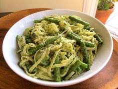 Learn to make Pasta Trenette from Liguria, Italy - a delicious vegetarian linguini dish with pesto, potatoes and green beans. Kosher, Dairy.