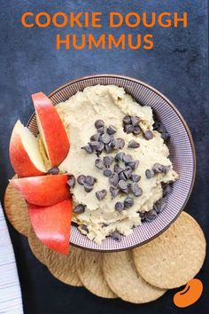 This chocolate chip cookie dough hummus recipe tastes decadent without the calories and fat of actual cookie dough. It's an addicting chickpea cookie dough dip that can trick even the most picky family. Included in this post are alternatives for sugar-fre Dairy Free Recipes, Baking Recipes, Healthy Recipes, Chickpea Recipes, Delicious Recipes, Healthy Snacks, Vegetarian Recipes, Dessert Hummus Recipe, Dessert Recipes
