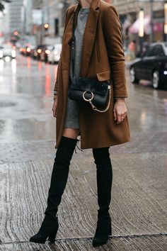 Zara Camel Wool Coat Topshop Grey Sweater Dress Chloe Faye Handbag Stuart Weitzman Black Over the Knee Boots Fashion Jackson Dallas Blogger Fashion Blogger Street Style