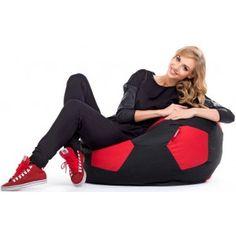 Sedací vak (pytel) fotbalový míč černo-červený polyester